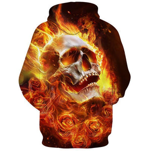 Fire Flower Skull Hoodies