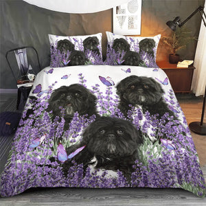 SHIH TZU BEDDING SET PURPLE FLOWER