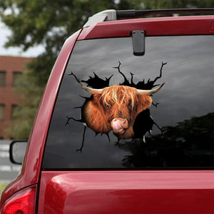 SCOTTISH HIGHLAND COW CRACK STICKER CATTLE LOVER