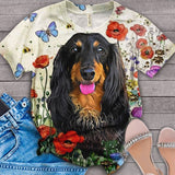 Dachshund Floral Love you T-Shirt 6