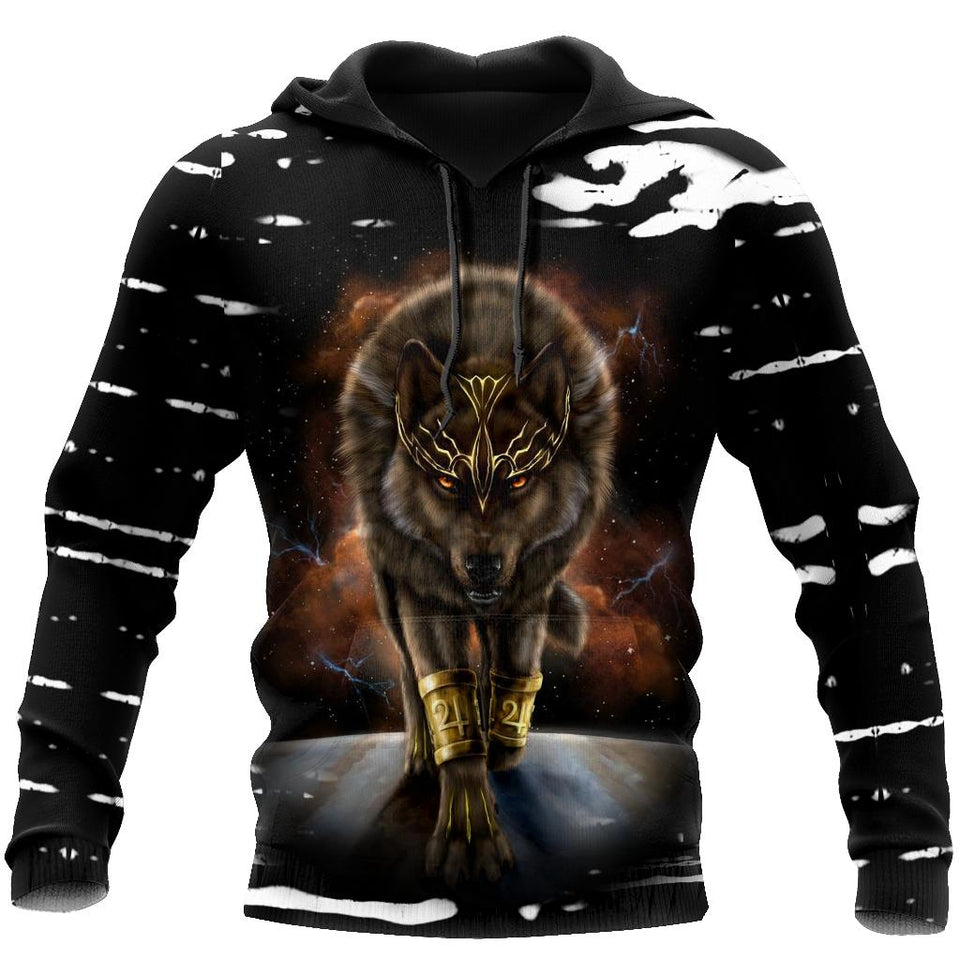 All Over Printed Beautiful Wolf King Hoodie MEI09