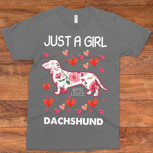 Just A Girl Who Loves Dachshund T-Shirt 01