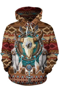 BISON ARROW BROWN NATIVE AMERICAN PRIDE ALL OVER HOODIE NVD1307