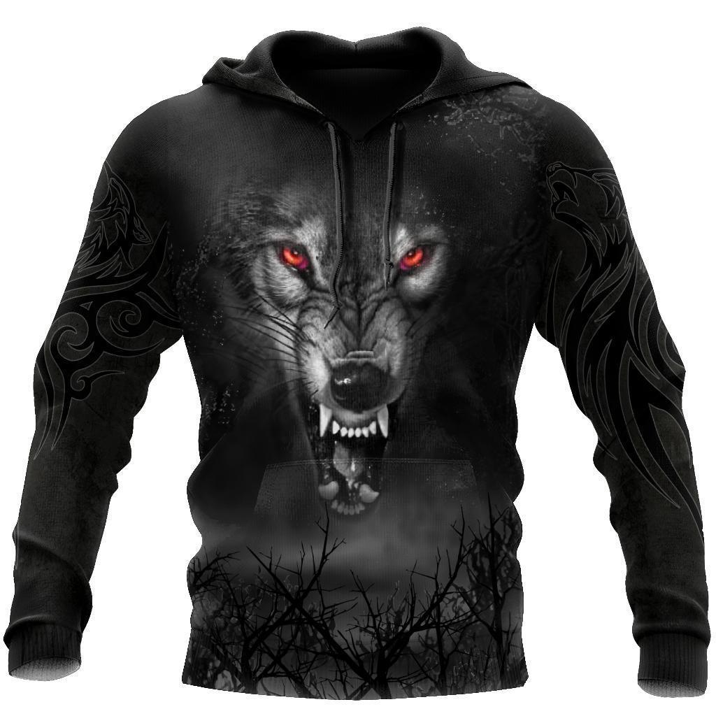 Dark Night Wolf 3D Over Printed Hoodie for Men and Women-ML
