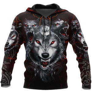 All Over Printed Wolf Hoodie MEI09102003-MEI