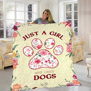 Just A Girl Who Loves Dogs Blanket 01