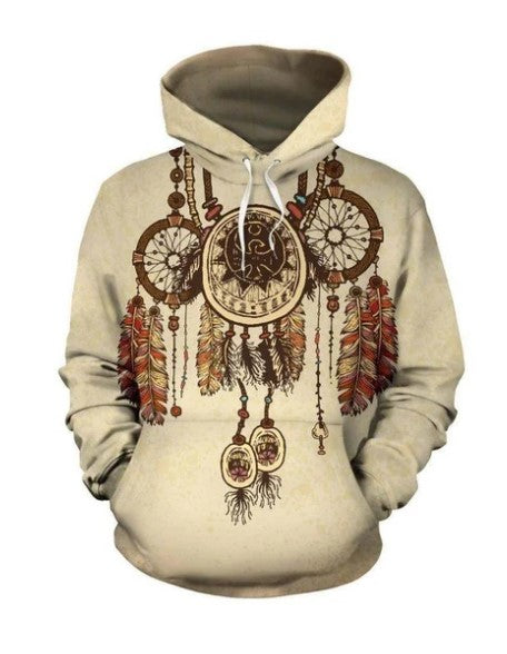 NATIVE AMERICAN DREAMCATCHER BISON FEATHER ALL OVER HOODIE NVD1308