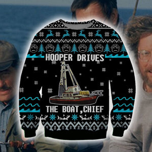 Hooper Drives The Boat Chief Ugly Sweater