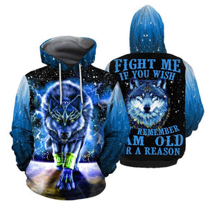Wolf Fight me if you wish Hoodie 3511