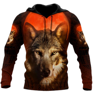 All Over Printed Wolf Hoodie DA29