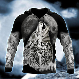 Wolf Spirit Tattoo Style 3D All Over Printed Hoodie Shirt by SUN QB05