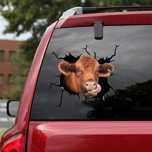 RED ANGUS COW CRACK STICKER CATTLE LOVER