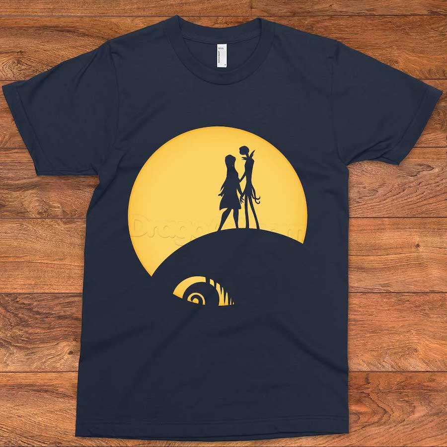 Jack and Sally Under the Moon Halloween T-Shirt