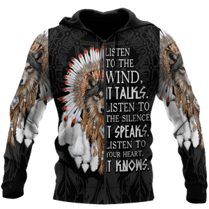 WOLF NATIVE AMERICAN HOODIE ULTRA SOFT AND WARM