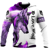 Purple Wolf 3D All Over Printed Hoodie Shirt by SUN QB05