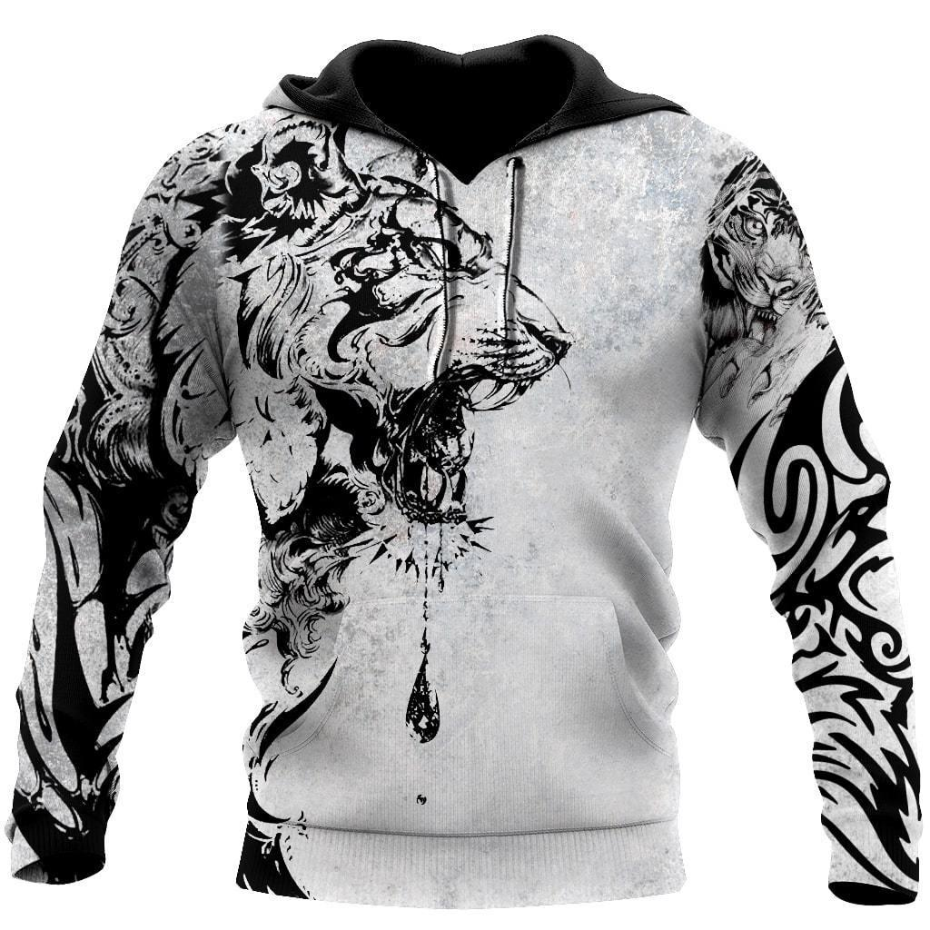 Power Tiger Tattoo 3D Over Printed Hoodie Tshirt for Men and Women-ML