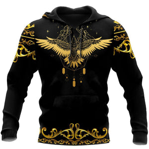 Gold Eagle Pattern Hoodie 3D All Over Printed For Men LAM20