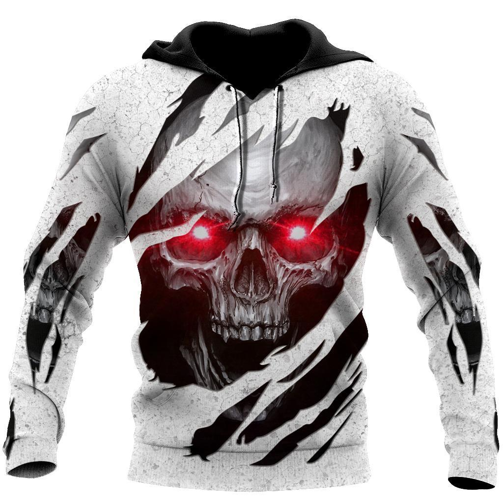 Red Eyes Skull Hoodie For Men And Women TQH