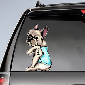 French Bulldog Tattoos I Love Dad Father's Day Car Sticker