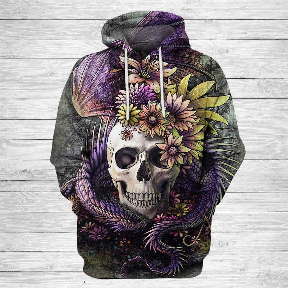 3D SKull and Dragon Print Hoodie 020