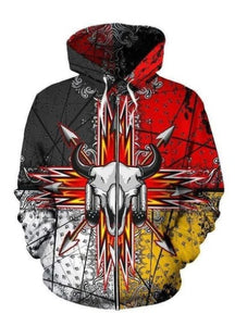 BISON ARROW 3D ZIP-UP HOODIE NATIVE AMERICAN CLOTHING NVD1305