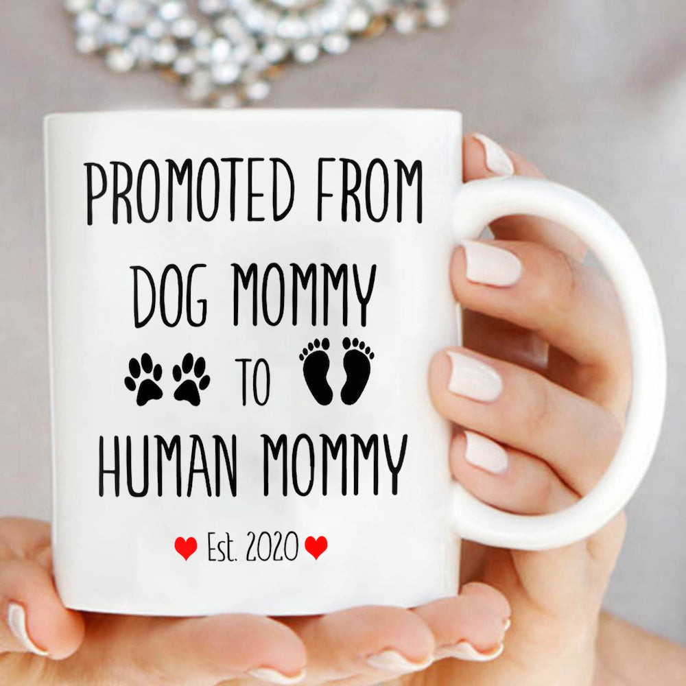 Promoted From Dog Mommy To Human Mommy Mug