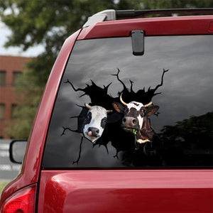 DAIRY COW CRACK CAR STICKER CATTLE LOVER