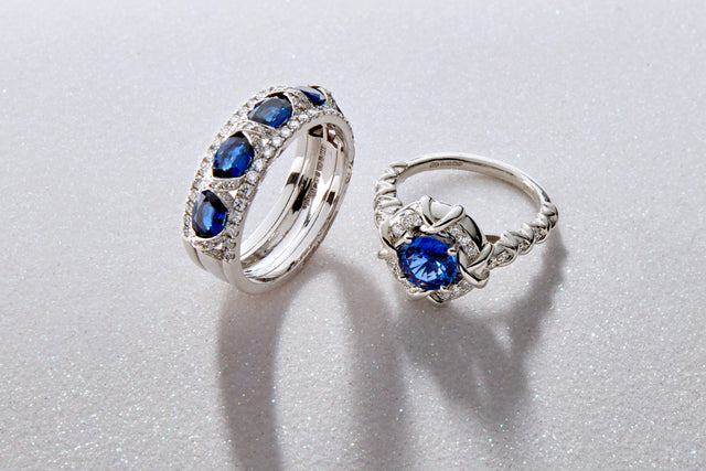 Baci from the Artistry Collection by Biagio Patalano. Diamond and sapphire rings set in precious metals and embossed with kisses