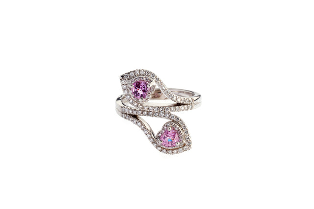 Due Cuori is the embodiment of true love. Pink sapphire hearts enrobed in white gold and diamonds celebrate pure unadulterated romance.