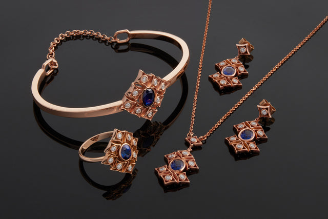 The rinascimento notta rosa set of rose gold, sapphire and diamond jewellery designed by Biagio Patalano