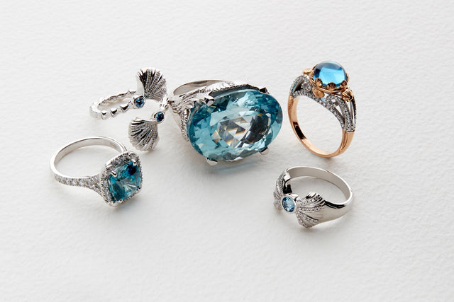 the sirena set of white gold, blue gemstone and diamond jewellery by Biagio Patalano