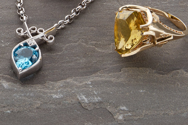 Men ring with citrine and mens necklace with blue topaz by Biagio Patalano