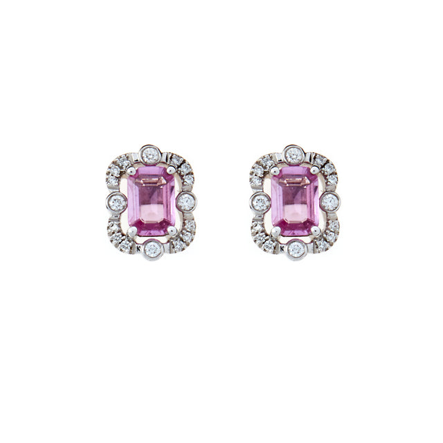 Emerald cut octagon pink sapphire studs surrounded by round cut brilliant diamonds. Part of the Ballerina collection.