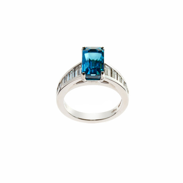 Emerald cut blue zircon and baguette diamonds ring set in white gold. Designed by Biagio Patalano for the Artistry Collection.