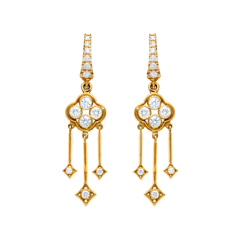 18ct gold and diamond earrings, part of the Rinascimento Luminosa collection by Biagio Patalano.