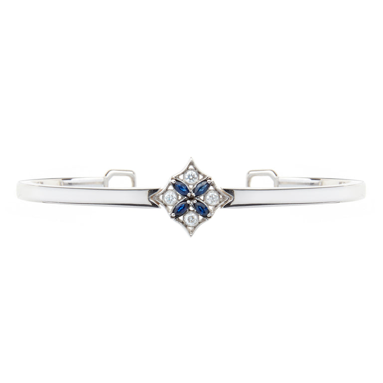 Marquise sapphire and round brilliant diamond bangle. Designed by Biagio Patalano for the Artistry collection.