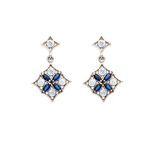 Marquise sapphire and round brilliant diamond earrings. Designed by Biagio Patalano for the Artistry collection.