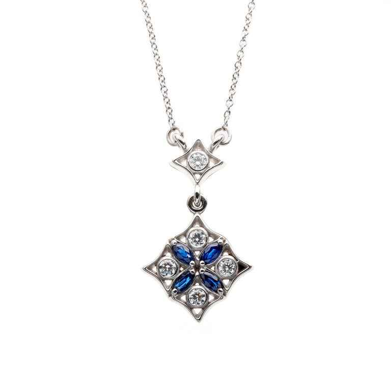 Marquise sapphire and round brilliant diamond necklace. Designed by Biagio Patalano for the Artistry collection.