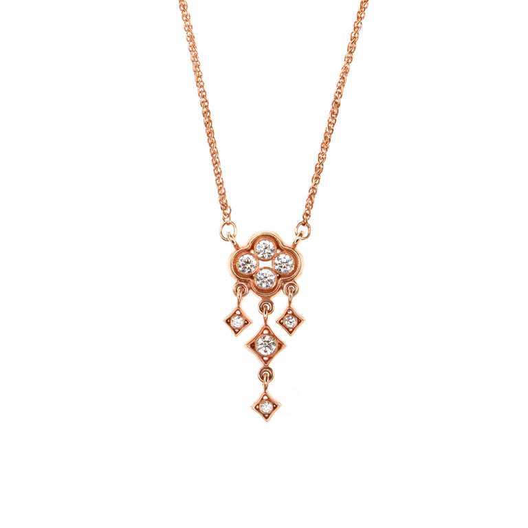 18ct rose gold and diamond trefoil necklace. Designed by Biagio Patalano for the Artistry collection.