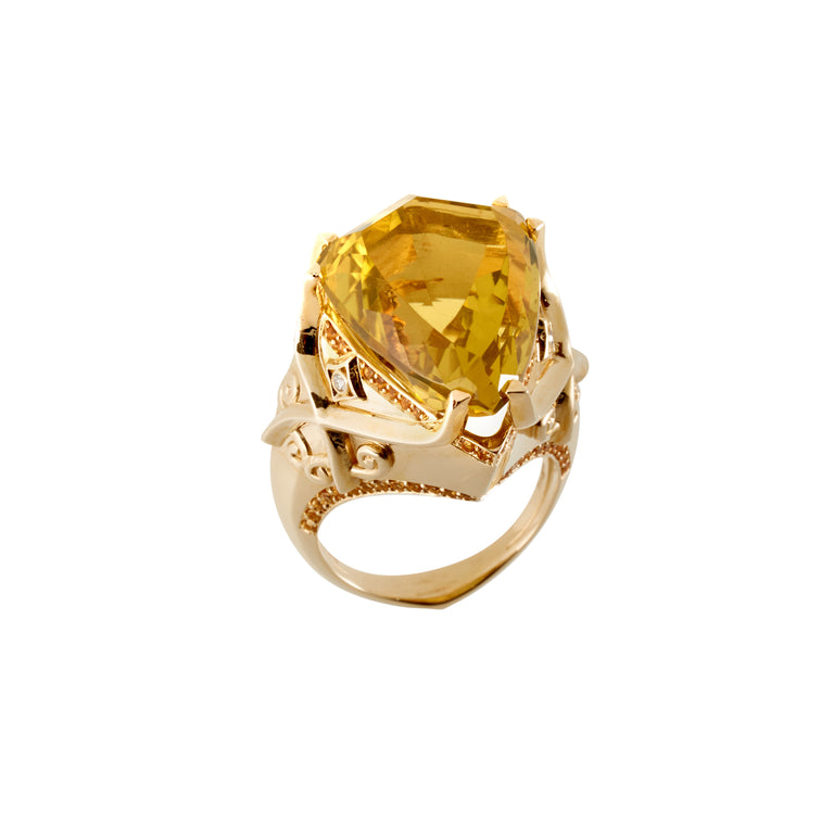 A kite mixed cut citrine ring with round golden citrine surround and round brilliant diamonds set in yellow gold.