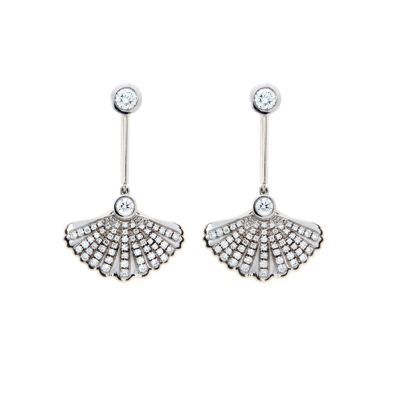 A pair of shell white gold and diamond earrings. Part of the Sirena collection by Biagio Patalano.