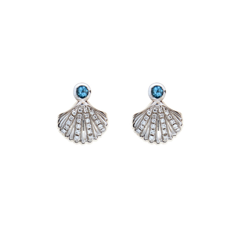 White gold shell with aqua and diamond stud earrings. Designed by Biagio Patalano for the Artistry Collection.