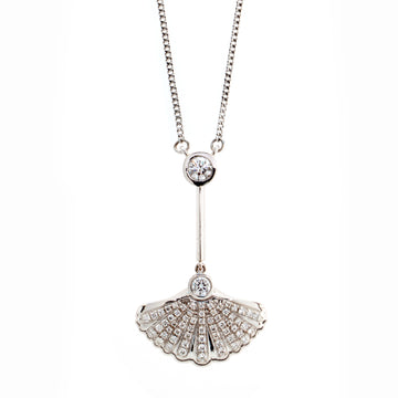 White gold and diamond shell pendant necklace with chain attached. Part of the Sirena collection.