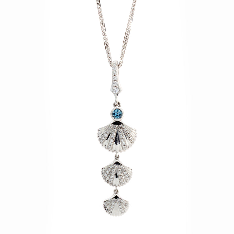 Triple shell diamond and aqua necklace designed by Biagio Patalano