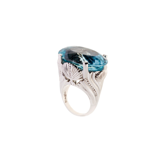 Star cut natural blue topaz and diamond shell ring, part of the Sirena collection.