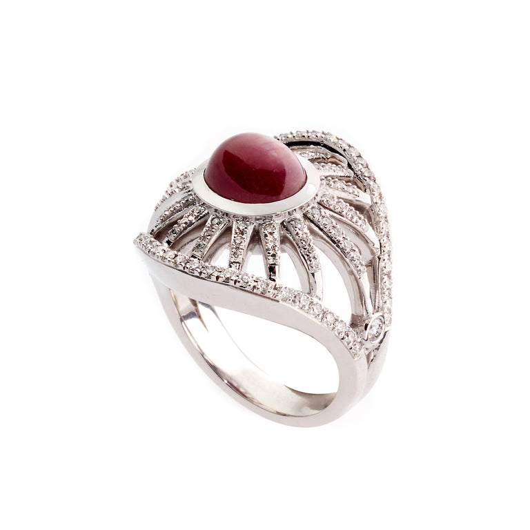 Sprazzo di Sole Star Ruby Ring