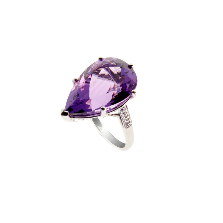18ct white gold diamond and amethyst ring with 15.68ct pear shape amethyst and 0.16ct brilliant diamonds from the artistry collection by biagio patalano