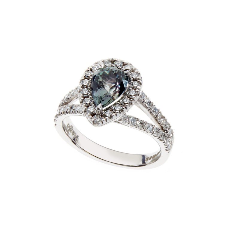 Pear zoisite and diamond ring set in white gold. Designed by Biagio Patalano.