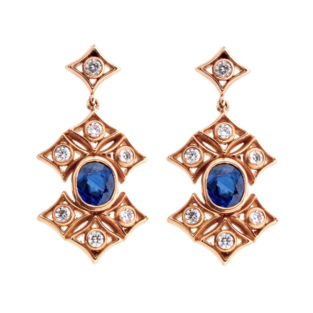Oval sapphire and diamond 18ct rose gold earrings. Part of the Rinascimento Notta Rosa collection.