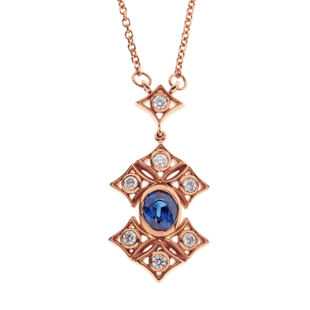 Oval sapphire and diamond 18ct rose gold necklace. Part of the Rinascimento Notta Rosa collection.